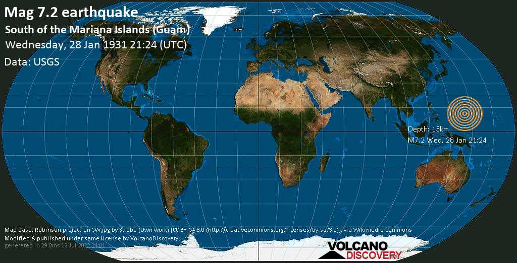 Major magnitude. 7.2 earthquake  - South of the Mariana Islands (Guam) on Wednesday, 28 January 1931 at 21:24 (GMT)