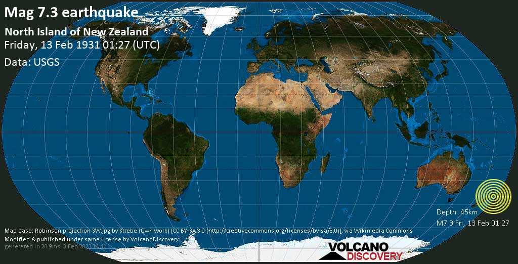 Major mag. 7.3 earthquake  - North Island of New Zealand on Friday, 13 February 1931