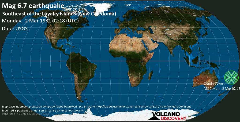 Strong mag. 6.7 earthquake  - Southeast of the Loyalty Islands (New Caledonia) on Monday, 2 March 1931