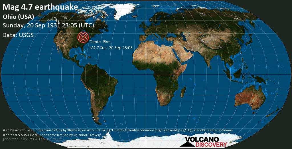 Moderate mag. 4.7 earthquake - 12 mi northwest of Sydney, Shelby County, Ohio, USA, on Sunday, September 20, 1931 at 23:05 (GMT)