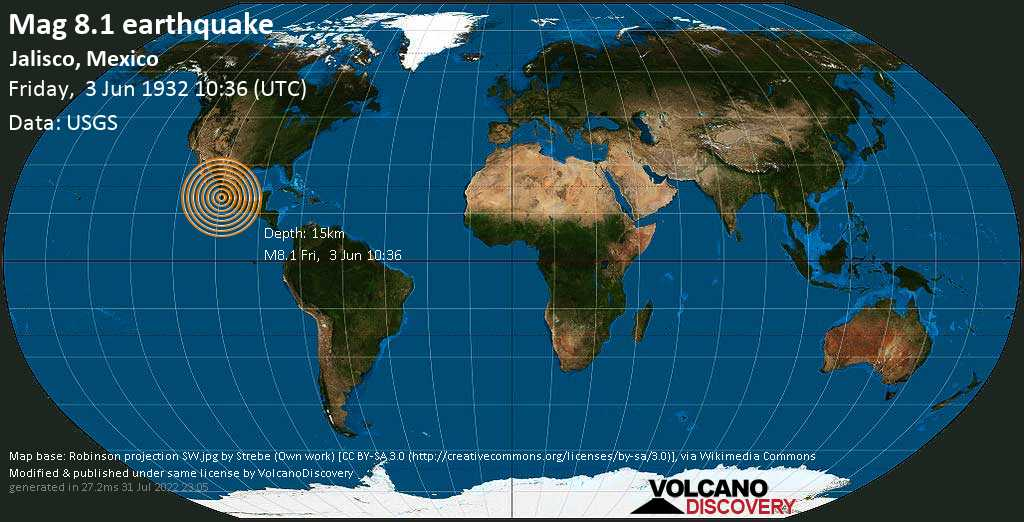 Major magnitude 8.1 earthquake - Ocampo, 1 km northwest of Jiquilpan, San Gabriel, Jalisco, Mexico, on Friday, June 3, 1932 at 10:36 (GMT)