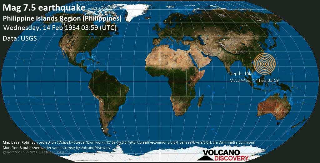 Major mag. 7.5 earthquake  - Philippine Islands Region (Philippines) on Wednesday, 14 February 1934