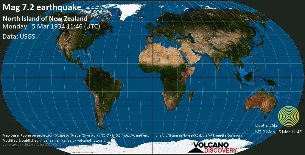 Major mag. 7.2 earthquake  - North Island of New Zealand on Monday, 5 March 1934