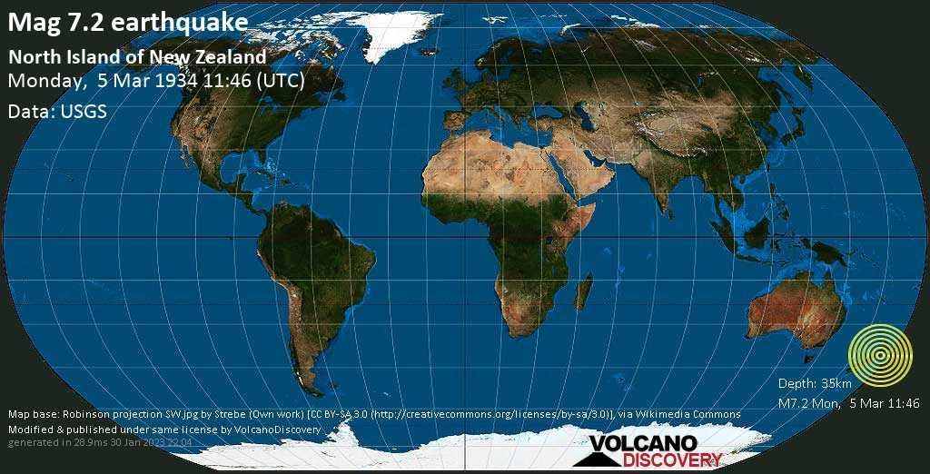 Major magnitude 7.2 earthquake - Tasman Sea, 18 km northwest of Levin, New Zealand, on Monday, March 5, 1934 at 11:46 (GMT)
