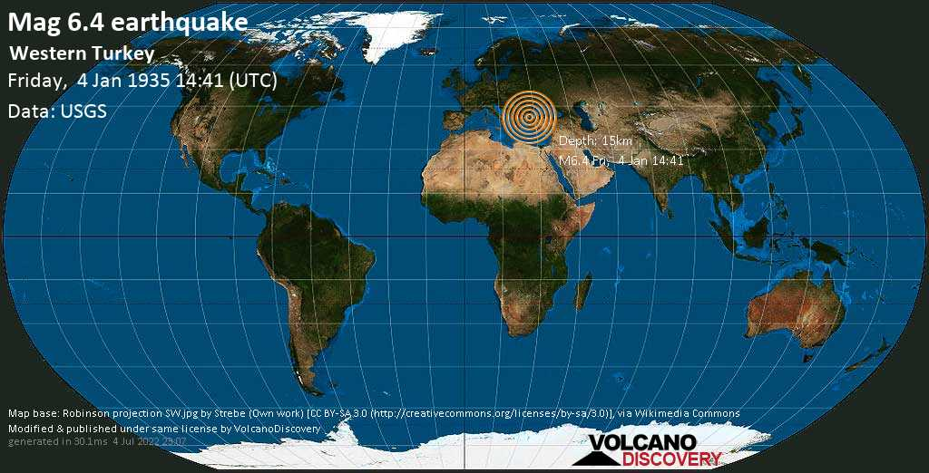 Strong mag. 6.4 earthquake  - Western Turkey on Friday, 4 January 1935 at 14:41 (GMT)