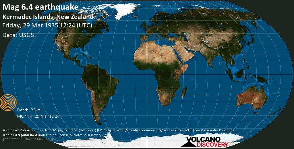 Strong mag. 6.4 earthquake  - Kermadec Islands, New Zealand, on Friday, 29 March 1935 at 12:24 (GMT)