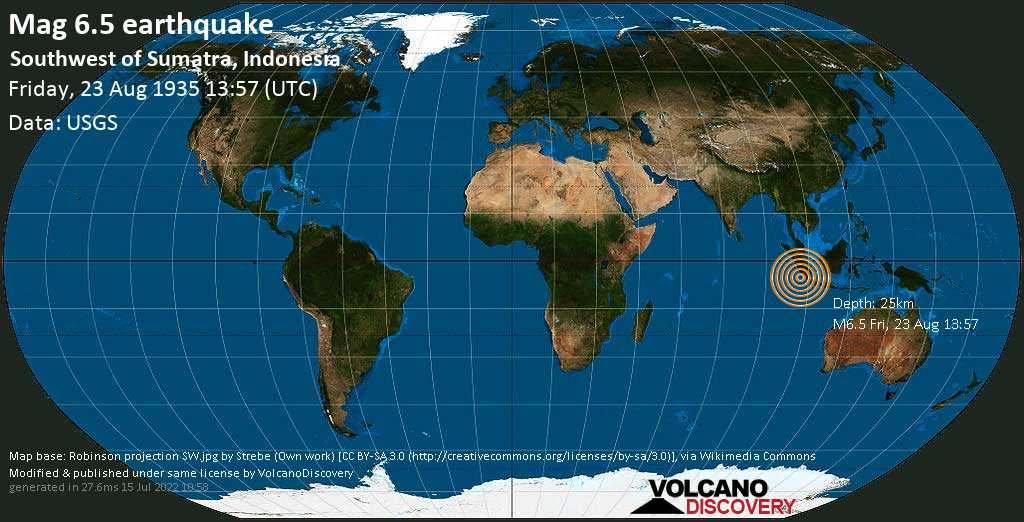 Strong mag. 6.5 earthquake  - Southwest of Sumatra, Indonesia, on Friday, 23 August 1935 at 13:57 (GMT)
