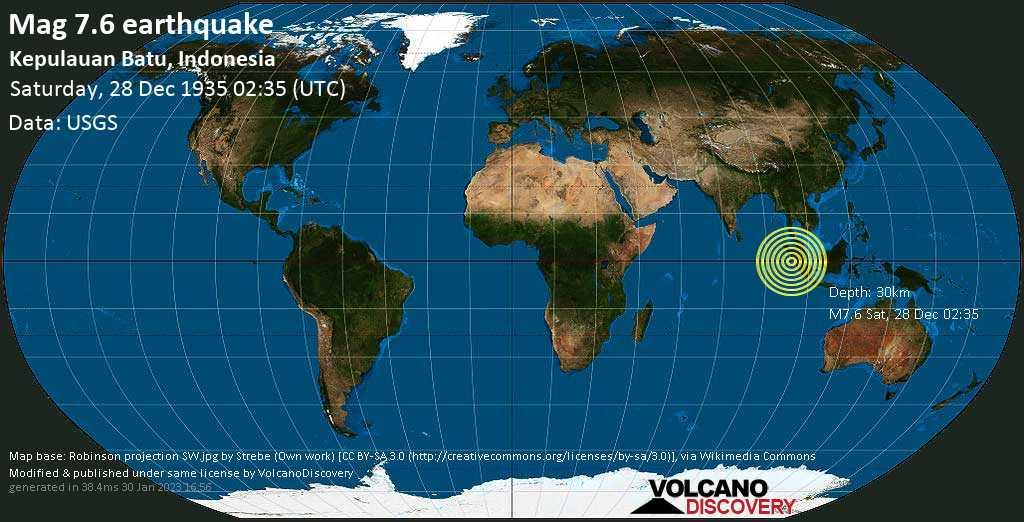 Major magnitude. 7.6 earthquake  - Kepulauan Batu, Indonesia, on Saturday, 28 December 1935 at 02:35 (GMT)