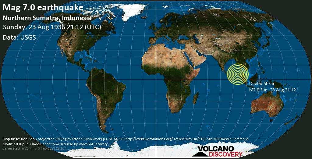 Major mag. 7.0 earthquake  - Northern Sumatra, Indonesia on Sunday, 23 August 1936