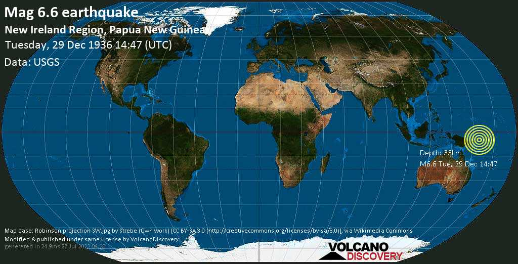 Strong mag. 6.6 earthquake  - South Pacific Ocean, 43 km east of Lambom Island, New Ireland, Papua New Guinea, on Tuesday, 29 December 1936 at 14:47 (GMT)