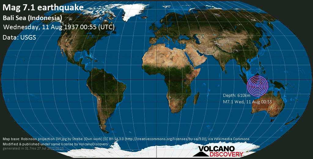 Major mag. 7.1 earthquake  - Bali Sea (Indonesia) on Wednesday, 11 August 1937 at 00:55 (GMT)