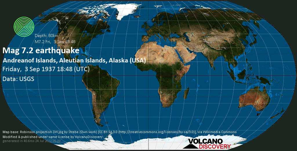 Major magnitude 7.2 earthquake - Bering Sea, 57 mi northwest of Adak, Aleutians West County, Alaska, USA, on Friday, 3 September 1937 at 18:48 (GMT)