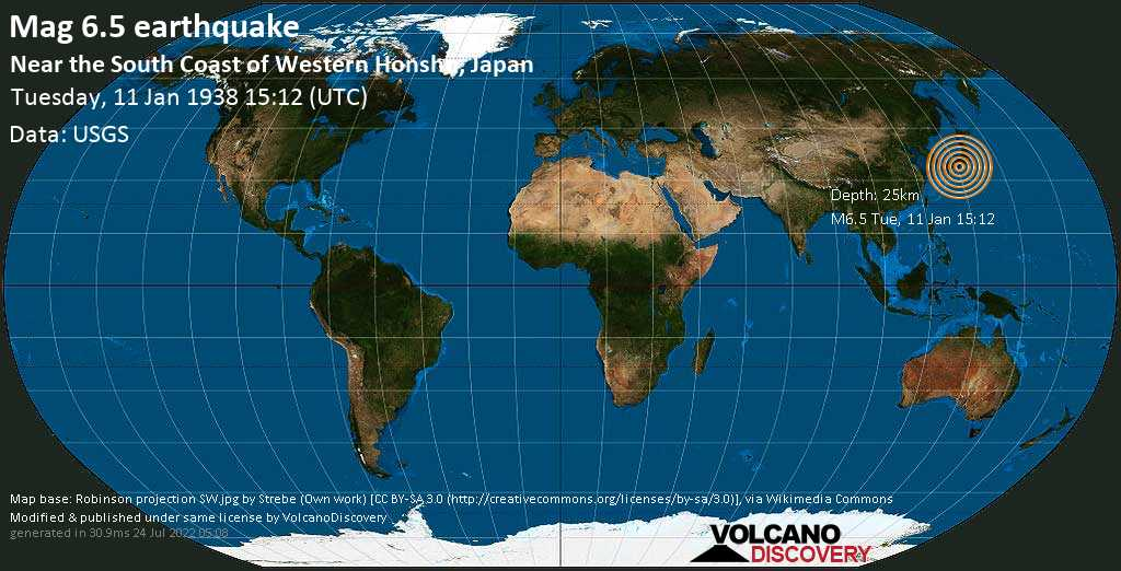 Very strong mag. 6.5 earthquake - Philippines Sea, 18 km southwest of Tanabe, Wakayama, Japan, on Tuesday, 11 January 1938 at 15:12 (GMT)