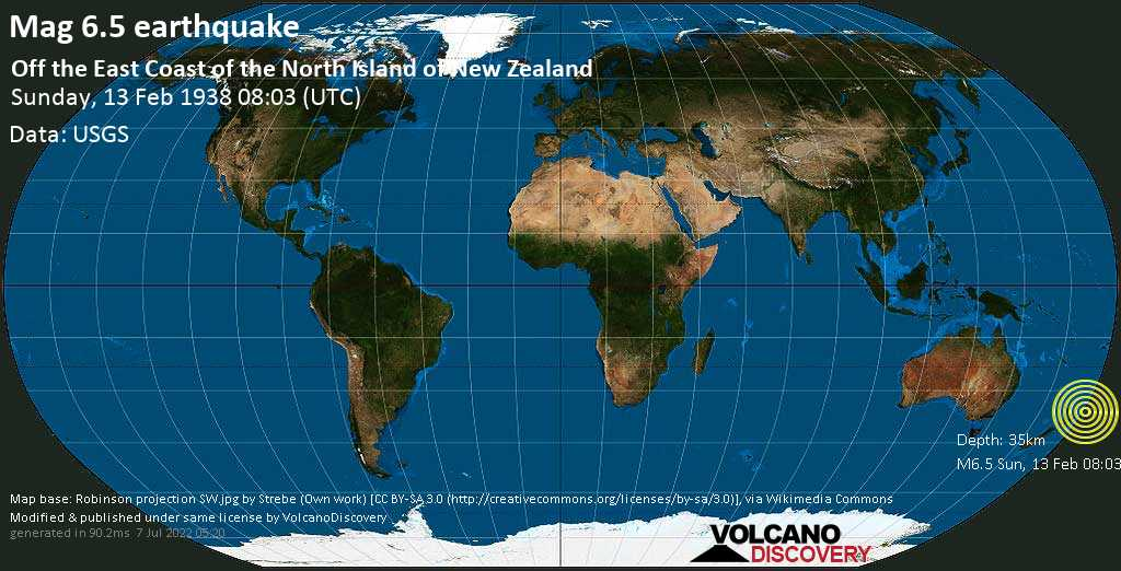 Strong mag. 6.5 earthquake  - Off the East Coast of the North Island of New Zealand on Sunday, 13 February 1938