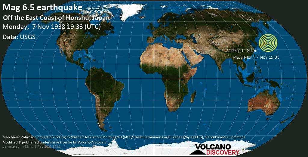 Strong mag. 6.5 earthquake  - Off the East Coast of Honshu, Japan on Monday, 7 November 1938