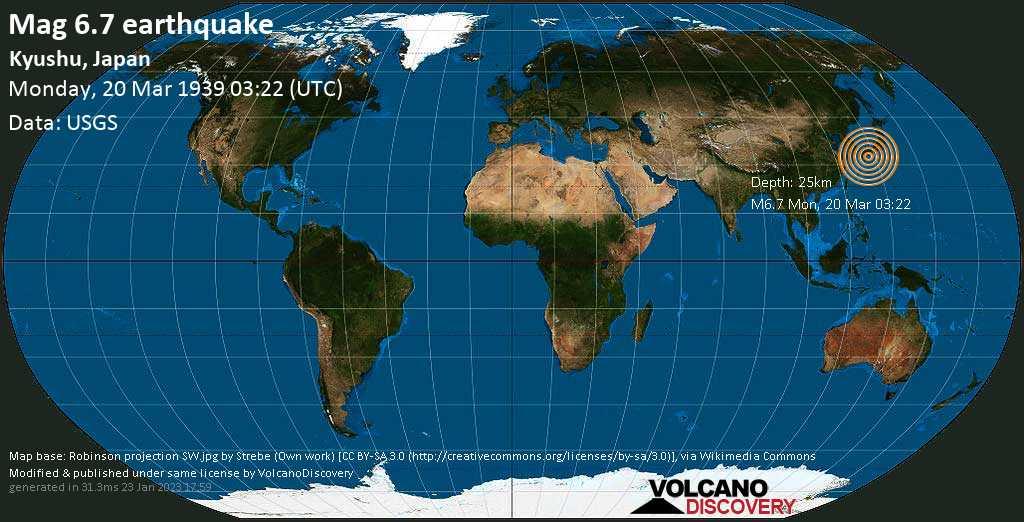 Very strong mag. 6.7 earthquake - 8.7 km south of Nobeoka, Miyazaki, Japan, on Monday, 20 March 1939 at 03:22 (GMT)