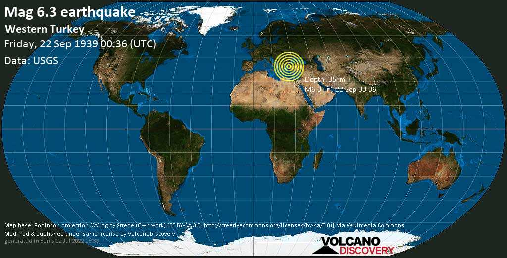 Strong mag. 6.3 earthquake  - Western Turkey on Friday, 22 September 1939 at 00:36 (GMT)
