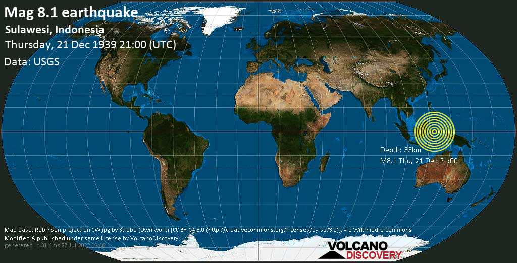 Great mag. 8.1 earthquake  - Sulawesi, Indonesia on Thursday, 21 December 1939