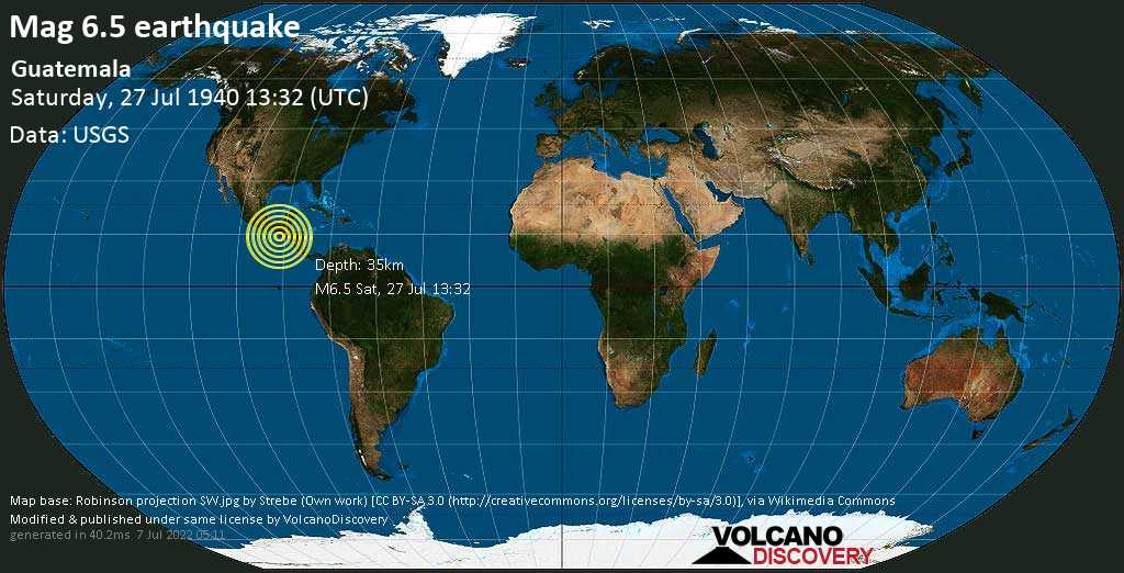 Very strong mag. 6.5 earthquake - 24 km south of Concepcion, Departamento de Escuintla, Guatemala, on Saturday, July 27, 1940 at 13:32 (GMT)