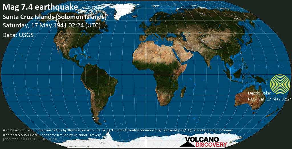 Major mag. 7.4 earthquake  - Santa Cruz Islands (Solomon Islands) on Saturday, 17 May 1941