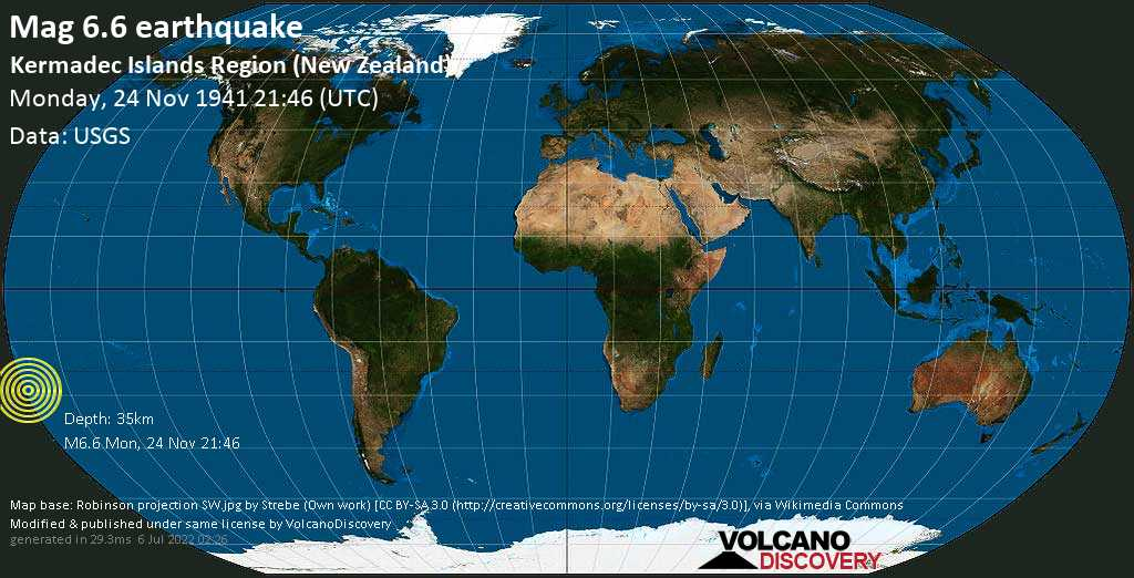 Strong mag. 6.6 earthquake  - Kermadec Islands Region (New Zealand) on Monday, 24 November 1941 at 21:46 (GMT)