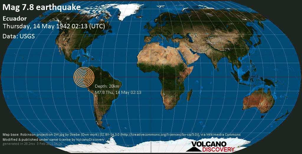 Major magnitude 7.8 earthquake - 15 km southeast of Pedernales, Provincia de Manabi, Ecuador, on Thursday, May 14, 1942 at 02:13 (GMT)