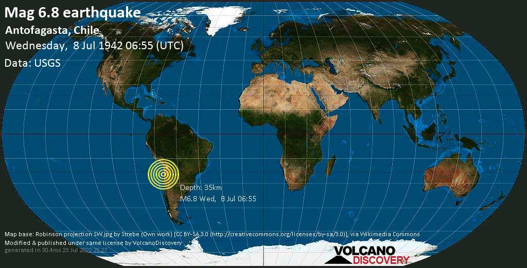 Strong mag. 6.8 earthquake  - 89 km southeast of Antofagasta, Chile, on Wednesday, 8 July 1942 at 06:55 (GMT)