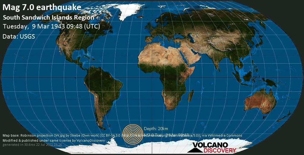 Major magnitude. 7.0 earthquake  - South Sandwich Islands Region on Tuesday, 9 March 1943 at 09:48 (GMT)