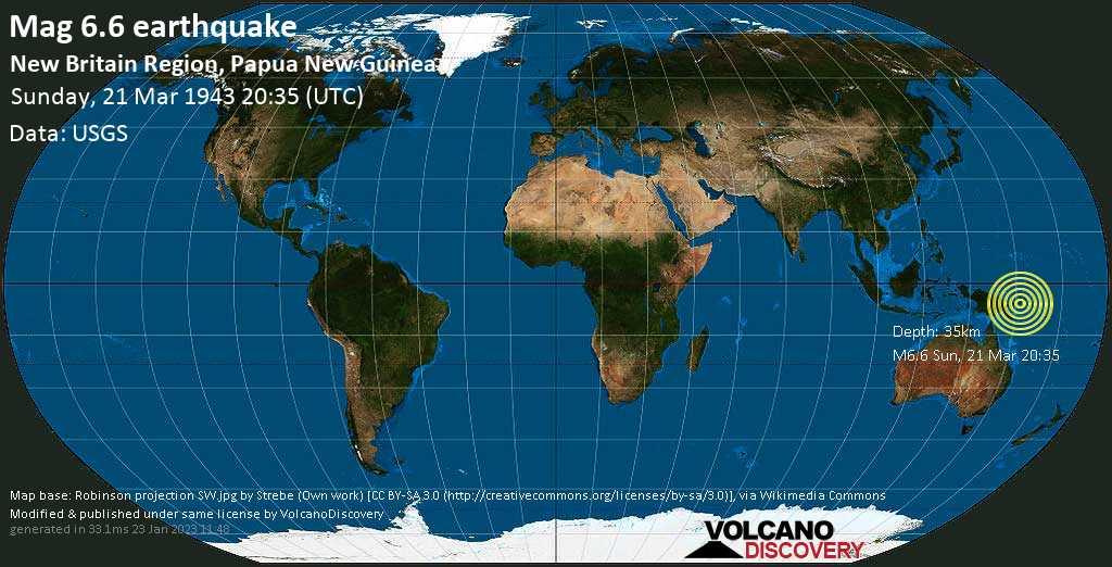 Sehr starkes Magnitude 6.6 Erdbeben - East New Britain Province, 52 km südöstlich von Kimbe, Papua-Neuguinea, am Sonntag, 21. Mär 1943 um 20:35 GMT