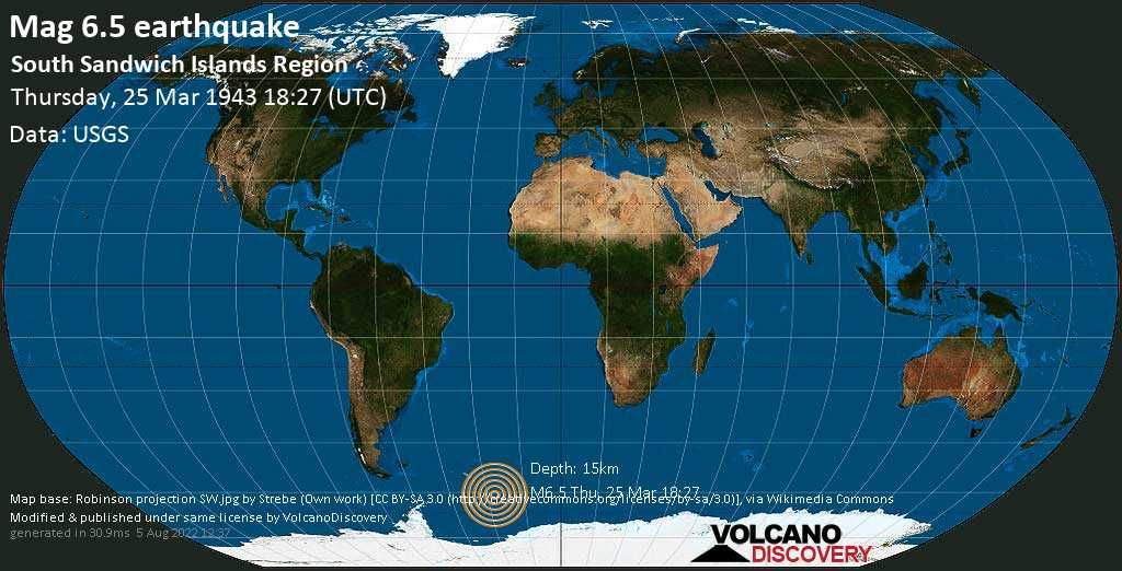 Strong mag. 6.5 earthquake  - South Atlantic Ocean, South Georgia & South Sandwich Islands, on Thursday, 25 March 1943 at 18:27 (GMT)