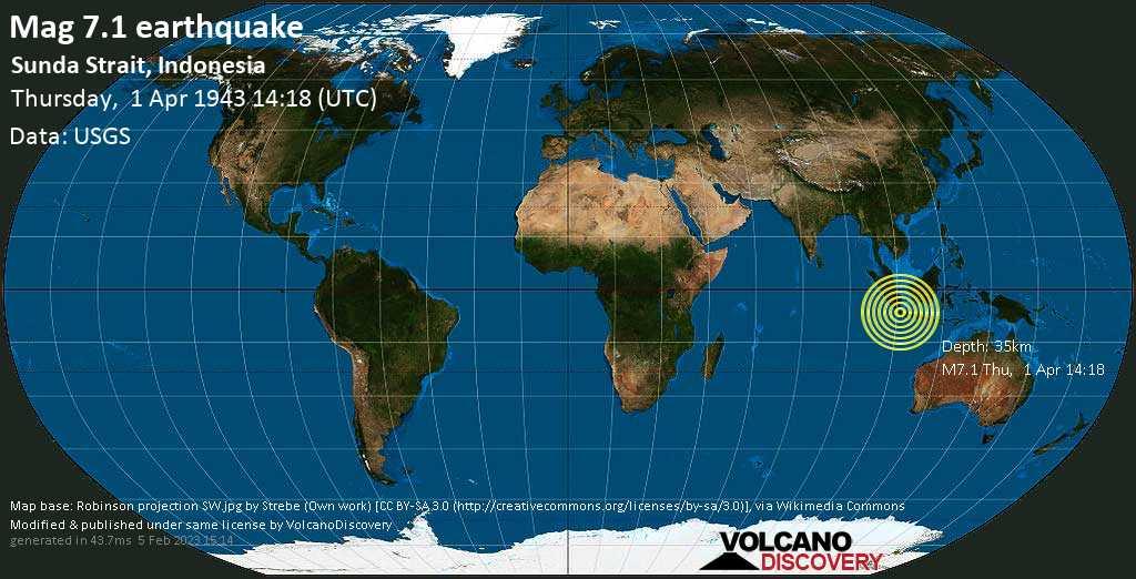 Major magnitude. 7.1 earthquake  - Sunda Strait, Indonesia, on Thursday, 1 April 1943 at 14:18 (GMT)