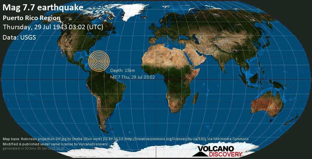 Major magnitude 7.7 earthquake - North Atlantic Ocean, 46 km north of Isabela, Puerto Rico, on Thursday, July 29, 1943 at 03:02 (GMT)