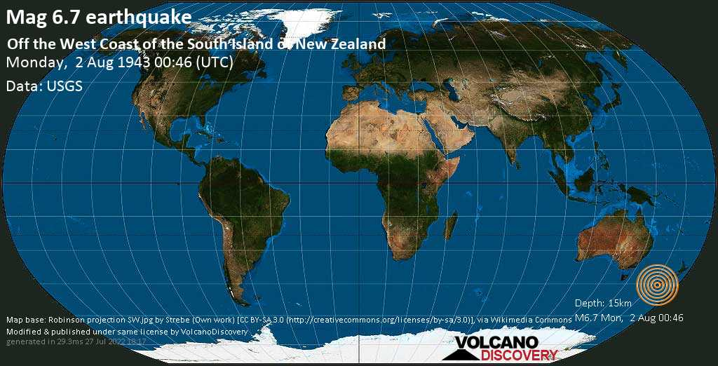 Strong mag. 6.7 earthquake  - Off the West Coast of the South Island of New Zealand on Monday, 2 August 1943 at 00:46 (GMT)