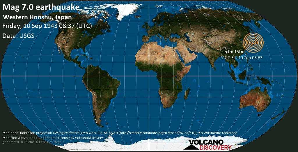 Major magnitude 7.0 earthquake - Tottori-shi, 16 km east of Kurayoshi, Tottori, Japan, on Friday, September 10, 1943 at 08:37 (GMT)