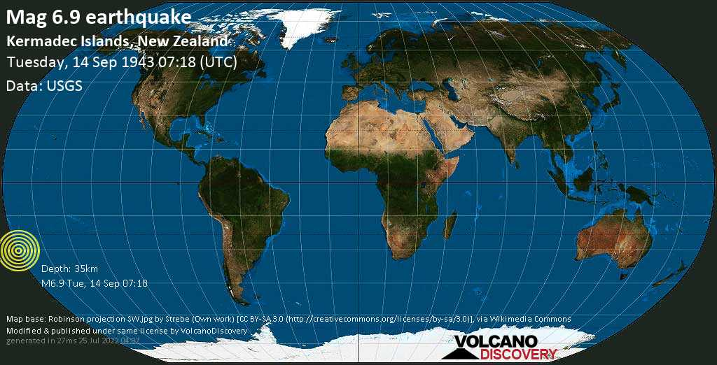Strong mag. 6.9 earthquake  - South Pacific Ocean, 1395 km northeast of Wellington, Wellington City, New Zealand, on Tuesday, 14 September 1943 at 07:18 (GMT)
