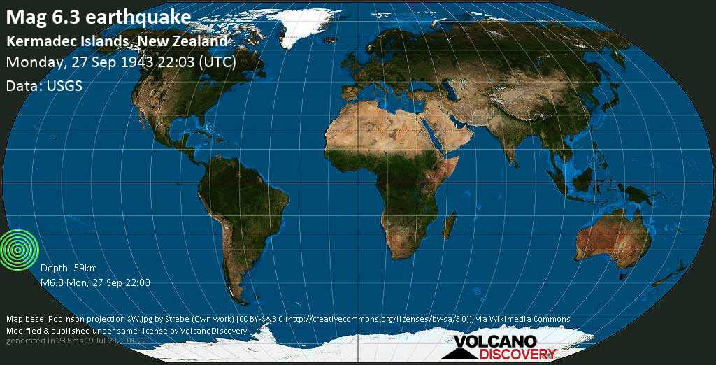 Strong mag. 6.3 earthquake  - South Pacific Ocean, 1412 km northeast of Wellington, New Zealand, on Monday, 27 September 1943 at 22:03 (GMT)