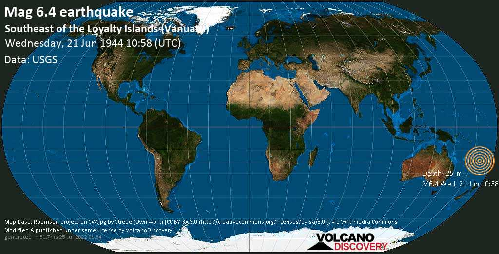 Strong mag. 6.4 earthquake  - Southeast of the Loyalty Islands (Vanuatu) on Wednesday, 21 June 1944