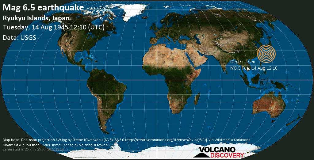 Strong mag. 6.5 earthquake  - Philippines Sea, 140 km east of Nago, Okinawa, Japan, on Tuesday, 14 August 1945 at 12:10 (GMT)