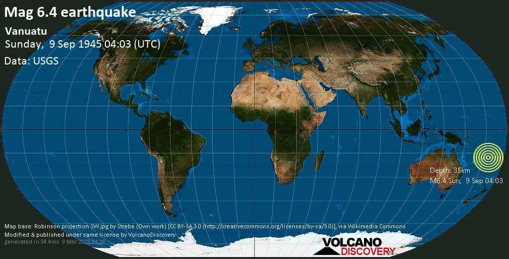 Strong mag. 6.4 earthquake  - Coral Sea, 60 km northwest of Port Vila, Shefa Province, Vanuatu, on Sunday, 9 September 1945 at 04:03 (GMT)