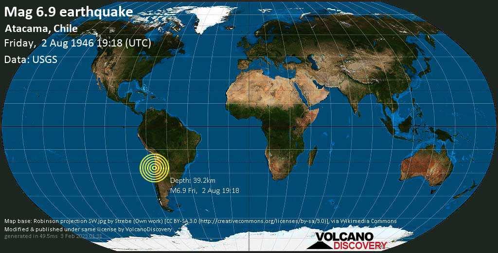 Fuerte terremoto magnitud 6.9 - Atacama, Chile, viernes, 02 ago. 1946