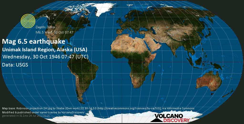 Very strong mag. 6.5 earthquake - North Pacific Ocean, 27 mi southeast of Tigalda Island, Aleutians East County, Alaska, USA, on Wednesday, 30 October 1946 at 07:47 (GMT)