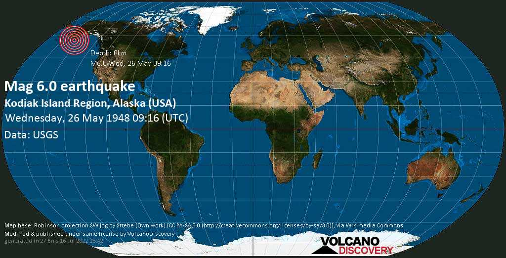 Very strong mag. 6.0 earthquake - Gulf of Alaska, 22 mi southeast of Sitkinak Island, Kodiak Island County, Alaska, USA, on Wednesday, 26 May 1948 at 09:16 (GMT)