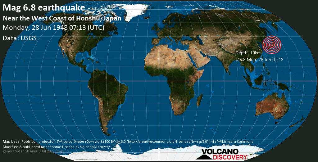 Major magnitude 6.8 earthquake - 4.5 km west of Maruoka, Sakai, Fukui, Japan, on Monday, June 28, 1948 at 07:13 (GMT)