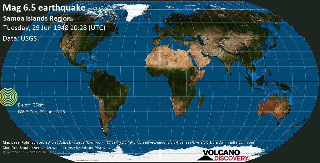 Strong mag. 6.5 earthquake  - South Pacific Ocean, 209 km southwest of Apia, Tuamasaga, Samoa, on Tuesday, 29 June 1948 at 10:28 (GMT)