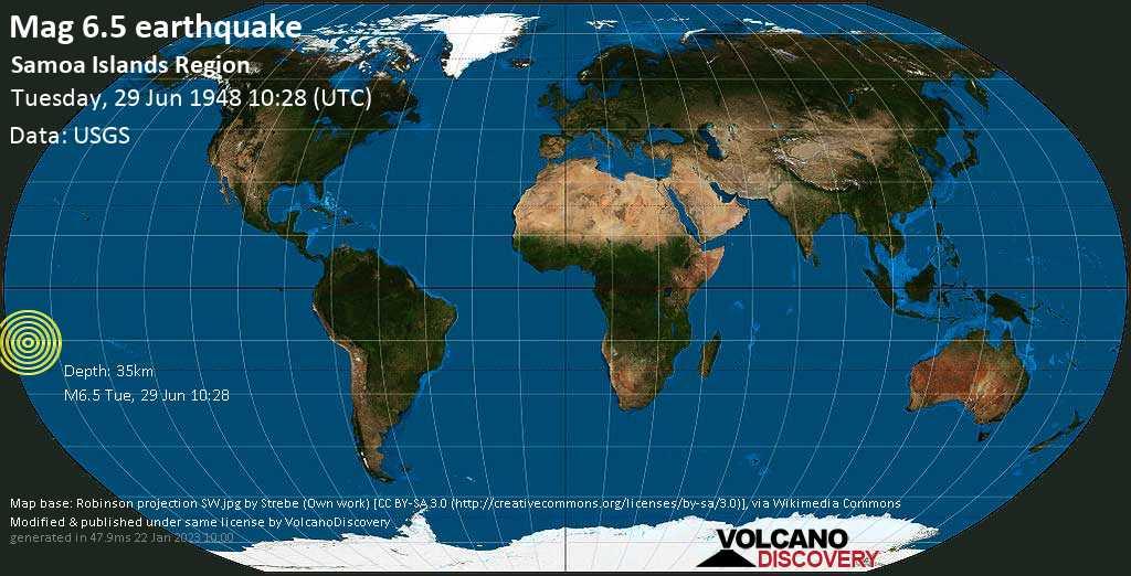 Forte terremoto magnitudine 6.5 - South Pacific Ocean, 209 km a sud ovest da Apia, Tuamasaga, Samoa, martedì, 29 giugno 1948