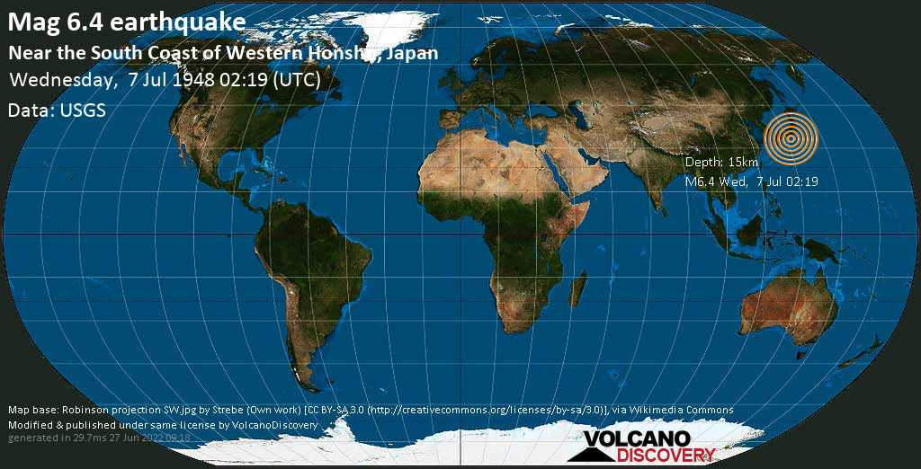 Very strong mag. 6.4 earthquake - Philippines Sea, 48 km southeast of Jino-shūri Island, Japan, on Wednesday, 7 July 1948 at 02:19 (GMT)