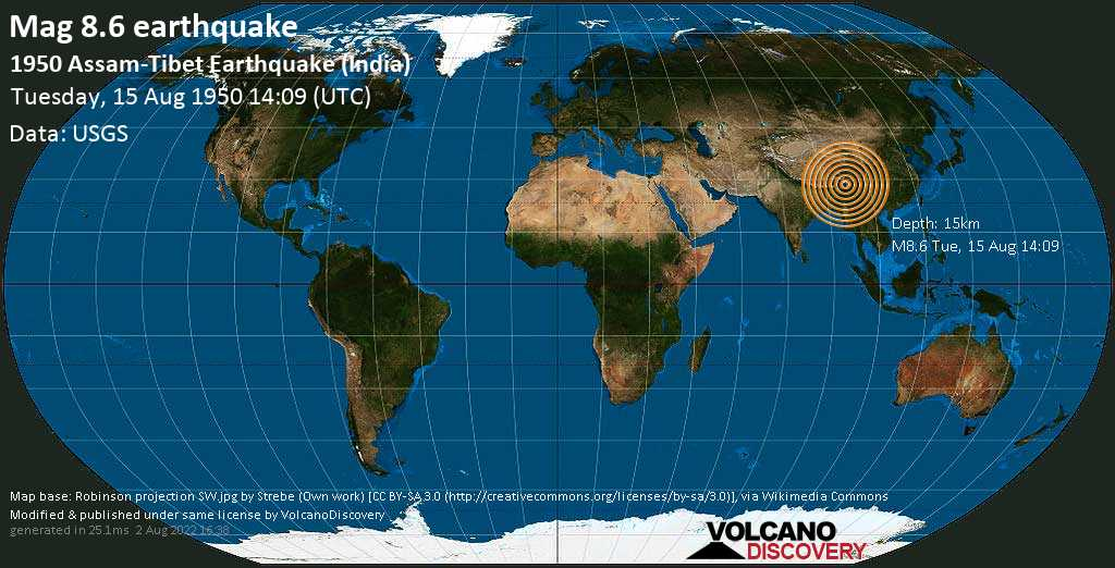 Great mag. 8.6 earthquake  - 1950 Assam-Tibet Earthquake (India) on Tuesday, 15 August 1950