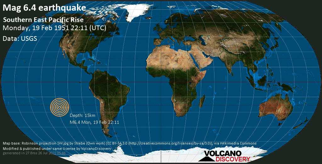 Strong mag. 6.4 earthquake  - South Pacific Ocean on Monday, 19 February 1951 at 22:11 (GMT)
