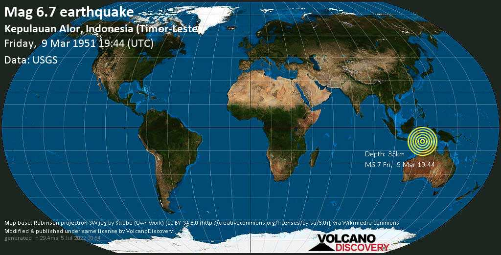 Very strong mag. 6.7 earthquake - Savu Sea, 49 km northwest of Pante Makasar, Oecusse, Timor-Leste, on Friday, March 9, 1951 at 19:44 (GMT)