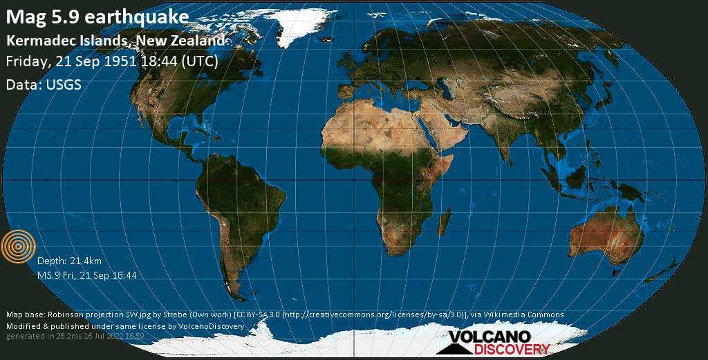 Strong mag. 5.9 earthquake - South Pacific Ocean, 1429 km northeast of Wellington, New Zealand, on Friday, 21 September 1951 at 18:44 (GMT)